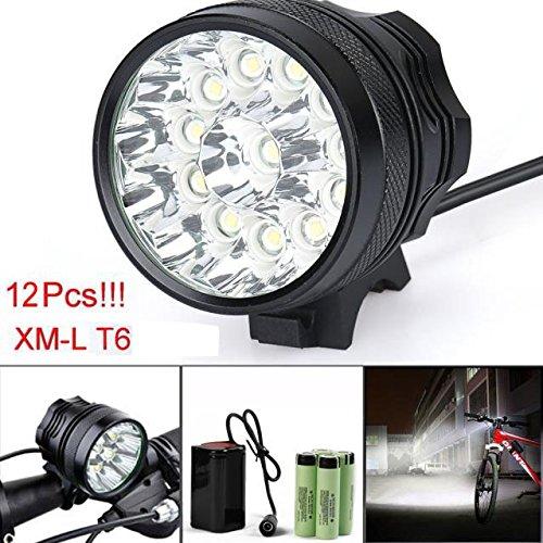 Fahrrad Licht, TopTen Fan-Motive 12x T6LED 12000Lumen 3Modi Ultra Bright Fahrrad LED Scheinwerfer Kopf Taschenlampe mit Akku und Laden (Altima Grill)