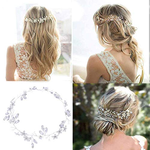 simsly Hochzeit Haar Vines Brautschmuck Haarreifen mit Blume Kristall Haar Zubehör für Bräute und Brautjungfern fs-194 - Braut-haar Pins