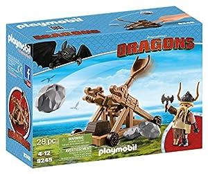 Cómo entrenar a tu Dragón-Gobber con Catapulta Playset de Figuras de Juguete, Color marrón, 24,8 x 9,2 x 18,7 cm Playmobil 9245