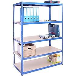 Etagère de rangement pour Garage, 180cm x 120cm x 60cm (Bleu) - 5 Étagère, Capacité de 875kg (175kg par Étagère) - très résistant, Charge lourde