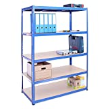 180cm x 120cm x 60cm, Blue 5 Tier (175KG Per Shelf), 875KG Capacity Extra Deep Garage Shed Racking Storage Shelving Unit, 5 Year Warranty