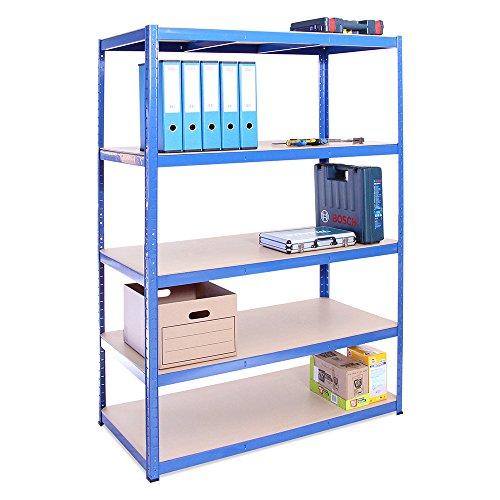 Étagère de rangement de garage bleue 5 : 180cm x 120cm x 60cm (175kg par étagère),...