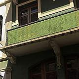 Liveinu Balkonbespannung Balkon Sichtschutz Windschutz Sichtblende UV-Schutz Witterungsbeständig Gartensichtschutz UV 75% HDPE-Spezialgewebe Balkonverkleidung 90x600cm Grün