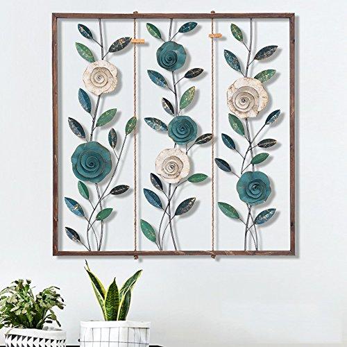 GAOLI Vintage Metall Leaf Flower Wandbild Aufhängen, Dreidimensionale Eisen Wand Dekoration, Creative Hintergrund Wand Dekoration, Wohnzimmer Wand Dekoration (Metall-sicherheits-speicher-regal)
