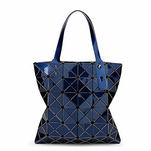 Borsa Borsetta donna geometrica ripiegata Plaid moda Borsa Tote casual donna Borsetta tracolla blu cielo piccola Dark Blue