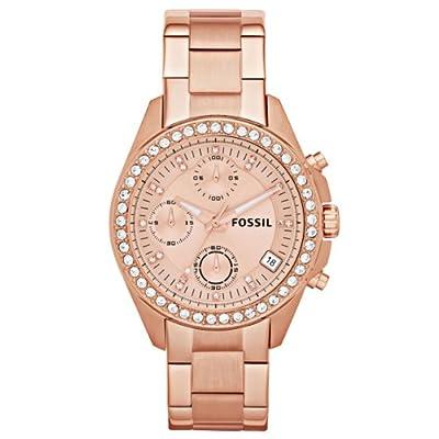 Fossil ES3352 de cuarzo para mujer, correa de acero inoxidable chapado color oro rosa (cronómetro)