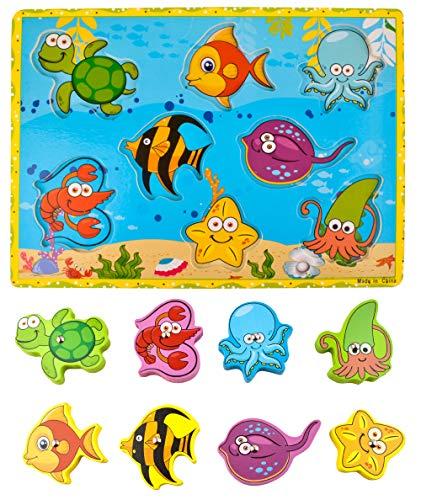 Iso Trade Angelspiel Holz Magnet Fische Früherziehung Magnetic Angeln Spiel Geburtstagsgeschenk HolzSpielzeug Spielzeug für Kind Baby Kleinkind Jungen Mädchen 7796