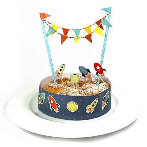 Frau Wundervoll Kuchen Deko Set - Raketen - / Kuchengirlande Geburtstag / Kuchenaufsatz / Tortengirlande