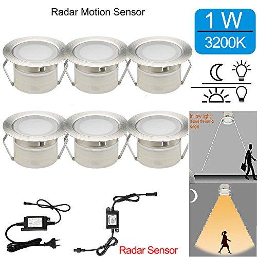 Radar Sensor Bodeneinbaustrahler led Aussen 1W Ø45mm IP67 Wasserdicht LED Einbaustrahler Terrasse Küche Garten Led Lampe 6er Full Kit