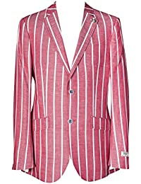 Richard Paul Red and White Striped Linen Cotton Henley Regatta Boating Blazer Jacket 40 42 44