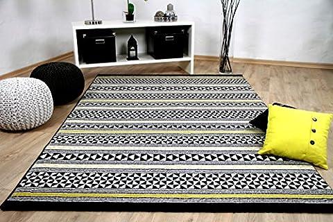 Designer Teppich Sevilla Modern Schwarz Gelb Stripes in 5 Größen