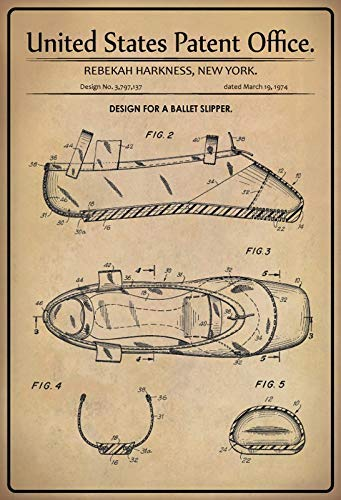 US Patent Balletschuh Ballet Slipper 1974 Blechschild Schild Blech Metall Metal Tin Sign 20 x 30 cm