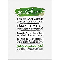 Kunstdruck, Poster mit Spruch – GLÜCKLICH SEIN – Typografie-Bild auf hochwertigem Karton - Plakat, Druck, Print, Wandbild mit Zitat / Aphorismus als Geschenk und Dekoration zum Thema Glück, Mut, Glaube, Ziel, Chancen, Erfolg und Lachen von TypeStoff (30 x 40 cm)