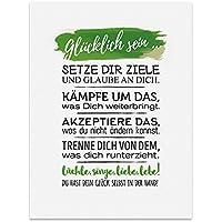 Schön Kunstdruck, Poster Mit Spruch U2013 GLÜCKLICH SEIN U2013 Typografie Bild Auf  Hochwertigem Karton   Plakat, Druck, Print, Wandbild Mit Zitat / Aphorismus  Als ...