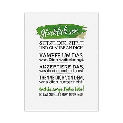 Kunstdruck, Poster mit Spruch – GLÜCKLICH SEIN – Typografie-Bild auf