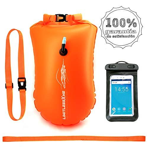 #limitlessXme Boya De Natación con Bolsa Seca Plus Bolsillo Impermeable Celular. Visibilidad y Seguridad al Nadar en el mar y en el Lago.
