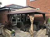 Huge 4m x 4m Stunning Gazebo Heavy Duty Waterproof Canoy With Carry Case On Wheels