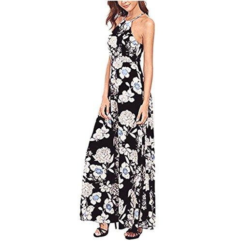 LILICAT Frauen Sommer Boho Lange Maxi Abend Party Kleid Strand Kleider Sundress (Schwarz, XL) (Halter Leger Dress)