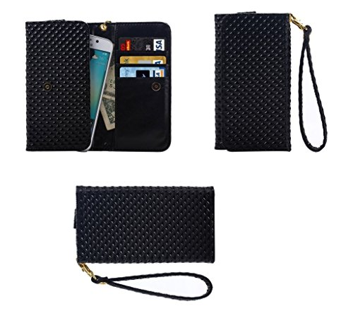 DFV mobile - Cover Premium Case with Design Pearl Grid Texture with Card Slots & Lanyard for => Celkon Campus Buddy A404 > Black