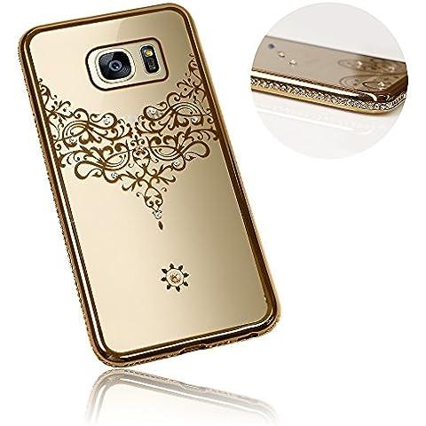 Xtra-Funky Serie Samsung Galaxy S7 PLUS Sottile Custodia in Silicone con Cristallo Scintillante Bordatura & Laccio Damasco - Oro