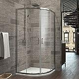 90 x 90 x 195 cm Duschkabine Viertelkreis Duschabtrennung Schiebetür Duschtrennwand Duschtür Eckeinstieg 6mm Nano Rund Dusche