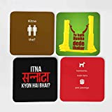 IKraft Wooden Coasters Coffee Mug Tea Cup Coaster All Famous Hit Dialogues Of Sholay Printed Cup Mat Home Drink Placemat Tableware Square Wood Coasters Pack Of 04