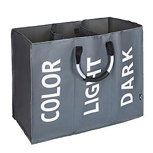 DOKEHOM Großen Faltbare Wäschekörbe mit 3 Abteil (2 Farben), Zusammenklappbaren Wäschesäcke, Kleider Tasche (Dunkelgrau) EINWEG