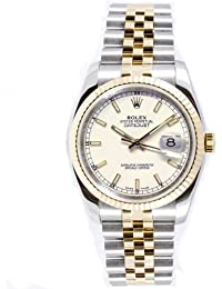 Rolex Mens New Style Heavy Band Stainless Steel & 18K Gold Datejust Model 116233 Jubilee Band Fluted Bezel White Stick Dial