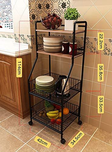 XBAO Servierwagen im Industrie-Design,Küchenwagen,Rollwagen,Küchenregal,aus Holz und Metall,auf 4 Rollen,4 Ebenen für Küche und Wohnzimmer
