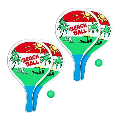 Relaxdays 2 x Beachball Set, 4 Holzschläger, Gummibälle, Strandspielzeug, Ballspiel für Kinder ab 3 Jahren & Erwachsene, bunt