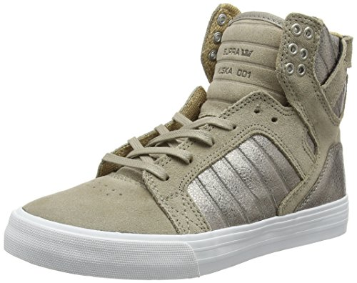 Supra Skytop, Baskets Basses Femme Beige (Taupe White)