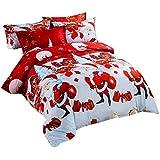 Koly La Navidad 4 PC a la hoja de cama de lino textil hogar de Navidad Juego de cama edredón de cama Fundas de almohadas,4 Colores-D