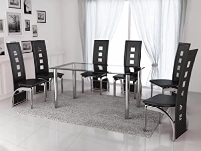 New Modern Black & Clear Glass with Chrome 6 Seat Dining Table & Chairs Set