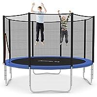 Outdoor Trampolin Ø 366 cm blau | Gartentrampolin komplett mit verstärktem Netz | Sicherheitsnetz mit 8 gepolsterten Stangen | Belastbarkeit 160 kg