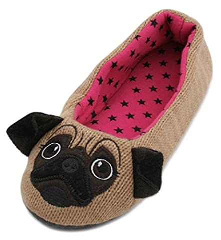 Slumberzzz Ladies Knitted Animal Character Ballet Slippers Brown Pug 5-6 (Brown Tessuto Di Lana)