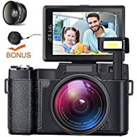 Video Camera Camcorder, DIWUER HD 1080P Digital Camera, 24.0MP 3.0 Inch LCD Flip Screen Vlog Camera with Wide Angle Lens and Flash Light (Two Batteries Included)