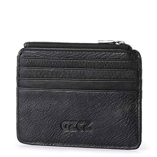 Echt Pickup Bag Card Set Mode Lässig Brieftasche Kopf Schicht Rindsleder Identifikation Ordner Kleine Ticket Inhaber Tasche für Männer (Color : Black, Size : S) (Ticket-ordner)
