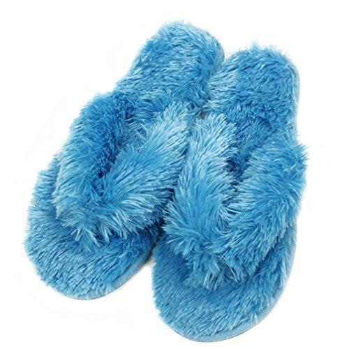 Gohom Pantoffeln Plüsch Hausschuhe Frühling Flip Flops Zehentrenner für Damen Mädchen aus Velvet Fasern Blau