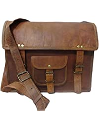 SR Stylish Genuine Leather Vintage Shoulder Messenge Ipad Bag Size L (11) H (9) W (3) For Unisex
