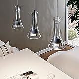 LICHT-TREND LED-Hängelampe 3-flammig 18W / Klarglas-Silber