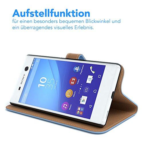 Sony Xperia M4 Aqua (Dual) Hülle - EAZY CASE Premium Flip Case Handyhülle - Schutzhülle aus Leder in Schwarz Hellblau (Book)