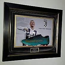 www.signedmemorabiliashop.co.uk Cristiano Ronaldo de Portugal firmada Bota de fútbol Pantalla
