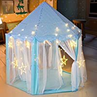 deAO Princess Castle Play Tent Kids Play House with Large Star Lights Girls Play Tents Toy for Indoor & Outdoor Games-Thick material