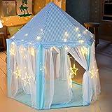 deAO Tienda de Campaña Tipi Castillo con Luces LED Casita de Juegos Infantil Carpa para Niños y Niñas Actividades Recreativas al Interior y Exterior Área de Recreo (Azul)