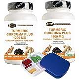 Turmeric Curcuma 1000mg 60 cpr | 2 confezioni ( 120 cpr ) + porta pillole Curcumina + Piperina + Zenzero - Bruciagrassi | Capsule dosaggio elevato curcuma titolato al 95% Pepe nero al 95% |
