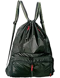 Daygos Drawstring Backpack Lightweight Foldable Waterproof Sports Gym Sackpack Bag Black