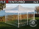 Dancover Tente Pliante Chapiteau Pliable Tonnelle Pliante Barnum Pliant FleXtents Pro 3x3m Transparent, avec 4 cotés