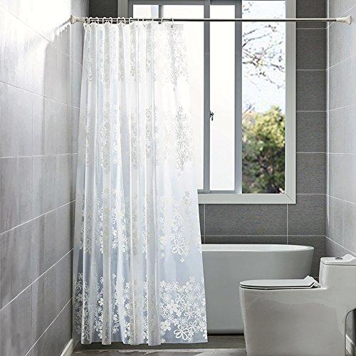 icht und Anti-Schimmel von ShowPower, PEVA Wasserdichter Duschvorhang Durchsichtige Blumen 180 x 180 cm, mit 12 Duschvorhang Ringe, Weiß (Blume Vorhang Ringe)
