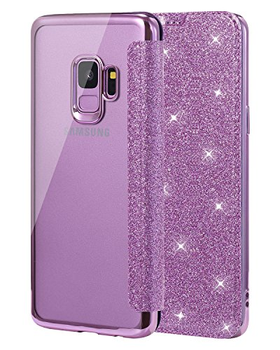 Galaxy Case Camera (Galaxy S9 Hülle,Galaxy S9 Case,S9 Case,Snewill Glitter Shiny Bling Slim PU Leather Folio Flip Handyhülle with Card Slot & Clear Soft TPU Back Cover Schutzhülle für Samsung Galaxy S9 -Bling Purple)
