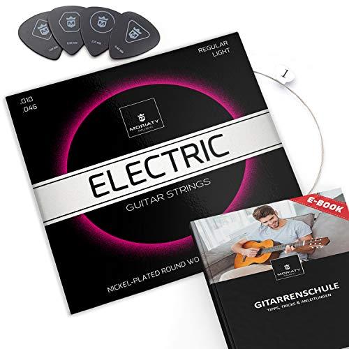 MORIATY® E-Gitarren-Saiten ☆ SIEGER 2019¹ ☆ Premium Stahl-Nickel E-Gitarren Saiten (7 Saiten-Set) | INKLUSIVE: 4 Plektren + Extra hohe E-Saite + eBook